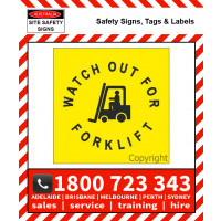 STENCIL WATCH OUT FOR FORKLIFT & PICTO 650mm Square Poly