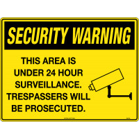 600x450mm - Metal - Security Warning This Area is under 24 Hour Surveillance. Trespassers will be Prosecuted. (SW016LM)