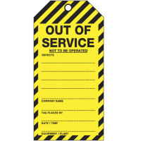 75x160mm - Cardboard Tags - Pkt of 25 - Out of Service Not To Be Operated - No String (TOS51C)