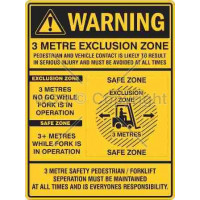 WARNING 3 METRE EXCLUSION ZONE 450x600mm Poly