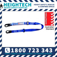 Heightech 2m Shock Absorbing Webbed Single Leg Adjustable Lanyard with Snap Hooks