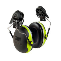 (Case of 10 boxes) 3M Green/Black Helmet Attached Format Earmuffs Class 5 SLC80 27dB (1 pair per box) (X4P3G/E)