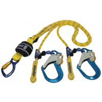 3M DBI-SALA  Force2  Adjustable Shock Absorbing Kernmantle Rope Lanyard - Double Tail Z13206129R, Yellow with black fleck
