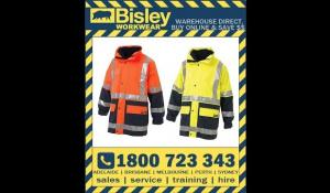 Bisley Workwear Safety 5-In-1 Hi Vis Rain Jacket (BK6975)