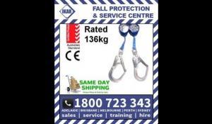 IKAR 2m Twin Retractable Dual Fall Arrest Block 41-HWDB 2R Rated 136kg/300lbs